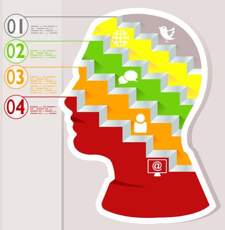supposition: Idea light head thinking mind philosophy, infographic Illustration