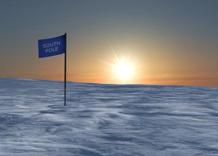 south pole: South Pole snow and ice flag  Stock Photo