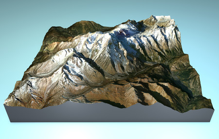 Map aerial view of Mont Blanc, Monte Bianco photo