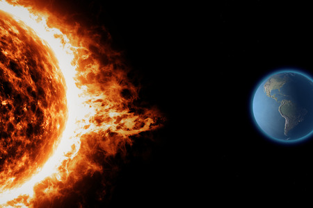Sun, earth space universe solar storm