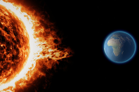 Sonne, Erde Raum Universum Sonnensturm Standard-Bild