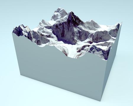 size distribution: K2 cutaway section  Himalaya mountains