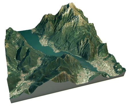 Luftaufnahme des Sees von Lecco und Umgebung Karte in 3D Lizenzfreie Bilder