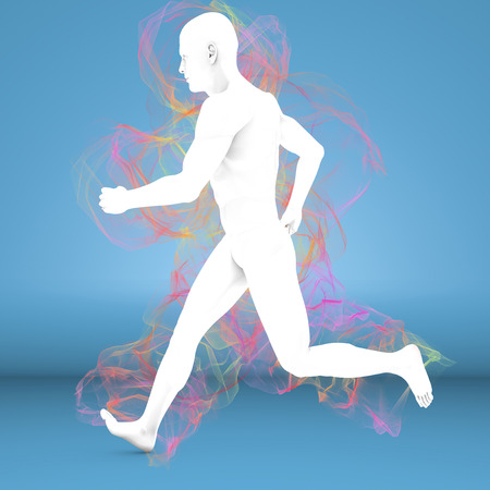 pseudoscience: Man running with aura