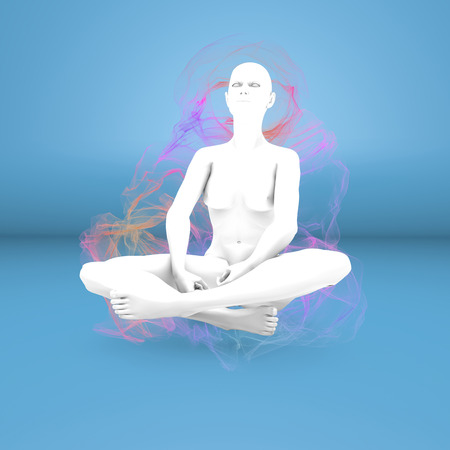 pseudoscience: Woman yoga meditation concentration aura Stock Photo