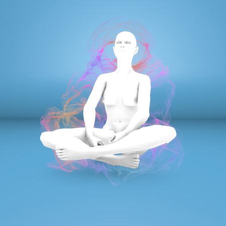 pseudoscience: Woman yoga meditation concentration aura Stock Photo