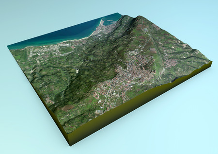 tyrrhenian: Aerial view of Vibo Valentia and the surrounding area map in 3d