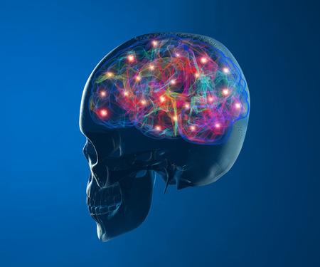 vasos sanguineos: Cerebro neuronas funciona la sinapsis Foto de archivo