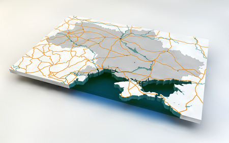 luhansk: Map of Ukraine, 3d, roads and rivers Stock Photo