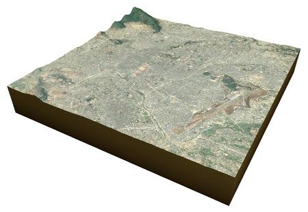 vue ville: Katmandou, N�pal Bagmati, ville, vue par satellite