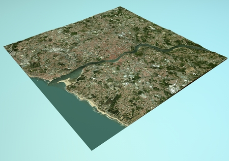 Satellite view of Porto, Portugal, map, section 3d photo