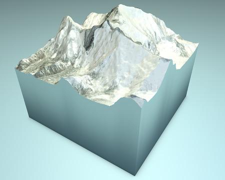 size distribution: Lhotse and Everest. Himalaya Mountains. 3d Satellite View