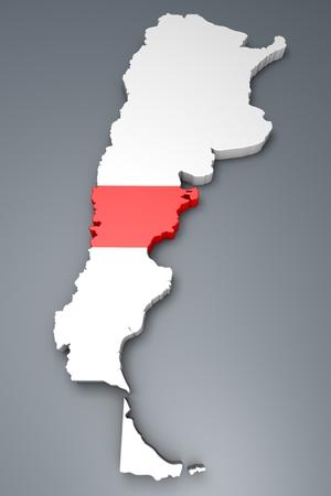 argentina map: Chubut Province On Argentina map Stock Photo