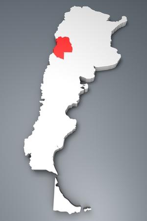 argentina map: Mendoza Province on Argentina map Stock Photo