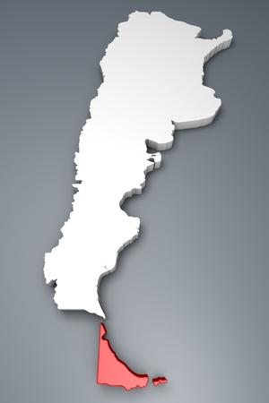tierra del fuego: Tierra del Fuego Province On Argentina map Stock Photo