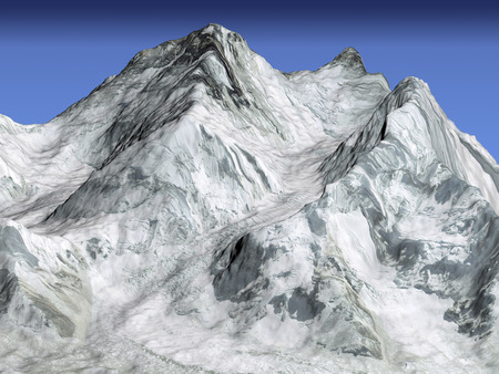 size distribution: Everest cutaway section on blue background