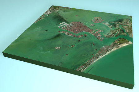 satellite view: Venice, Italy, 3d map, satellite view Stock Photo