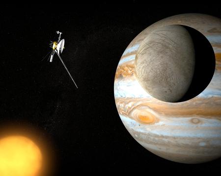 Satellite Europa, Jupiter moon, voyager probe photo