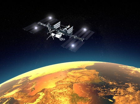 International Space Station, space. Earth orbit Stock Photo