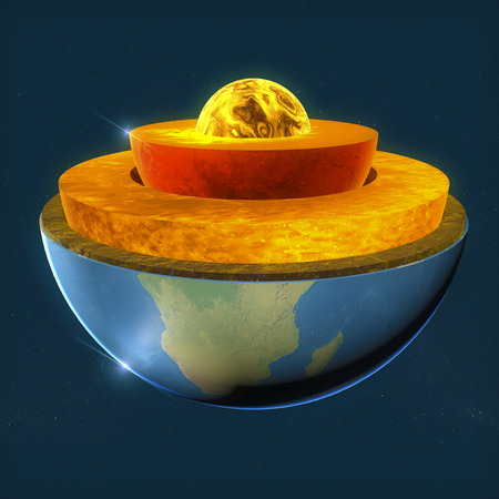 Earth s core, section layers earth and sky, split, geophysics