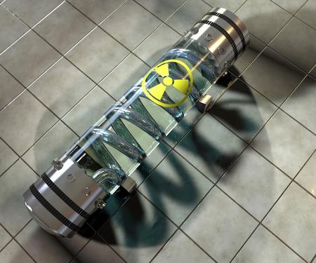sustancias toxicas: Arma qu�mica, contenedor arma c�psula radiactiva Foto de archivo
