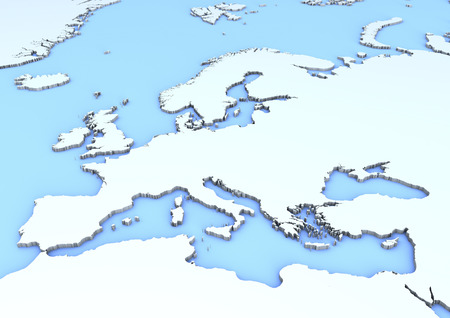 world map blue: Map of Europe illustration Stock Photo