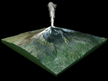 Satellite view of Mount Etna, Sicily, Italy on black background Stock Photo