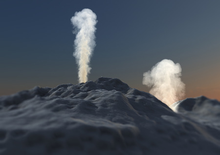 the ashes: Volcano eruption smoke ashes Stock Photo