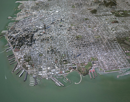 Satellite view in 3d with palaces on the map of San Francisco