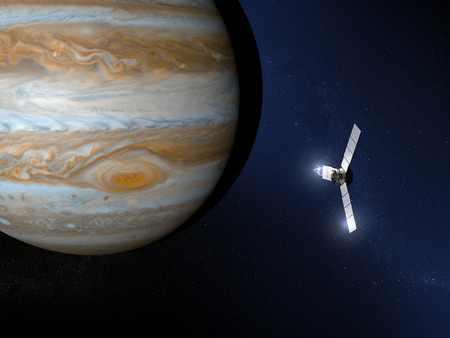 jupiter: Jupiter and Juno space probe Stock Photo