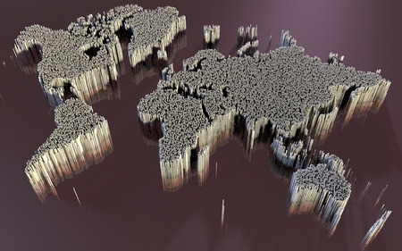 scifi: Abstract world map, made up of polygons, sci-fi