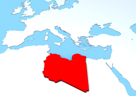 extrusion: Map Libya raised, red, 3d, africa, europe