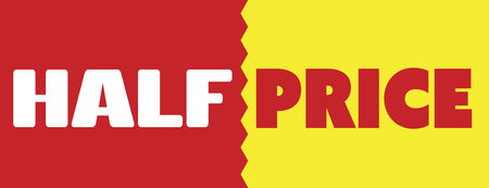 half price: Sales, banner half price purchases