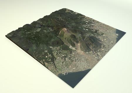 erupt: Volcano Mount Unzen satellite view, Shimabara, Nagasaki Prefecture, Japan.