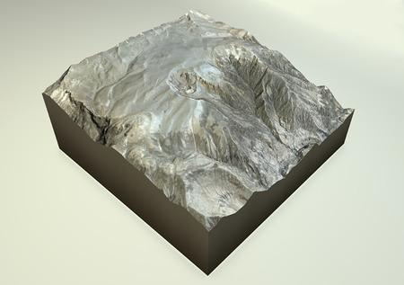 geologic: Volcano Huaynaputina satellite view in southern Peru.  Stock Photo