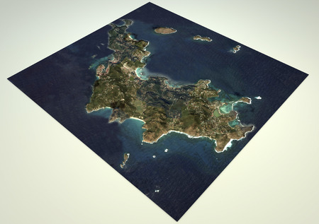 satellite view: Satellite View Saint-Barth?lemy, map, section 3d