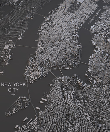 satellite view: New York City map satellite view map in negative