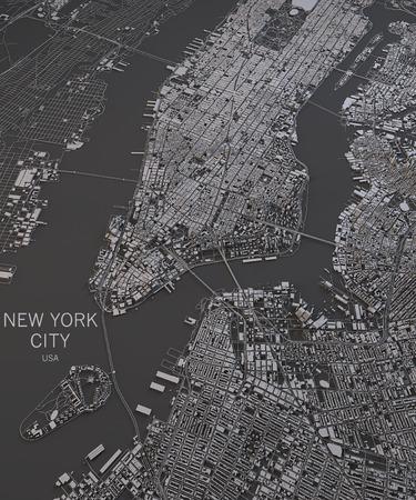 New York City widoku map satelitarnych map w negatywie