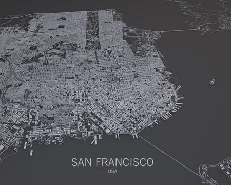 San Francisco streets and buildings map