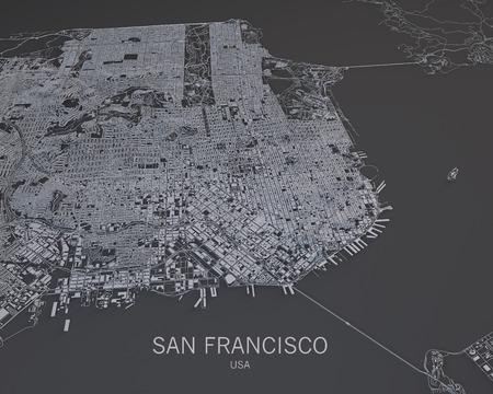 san francisco: San Francisco streets and buildings map