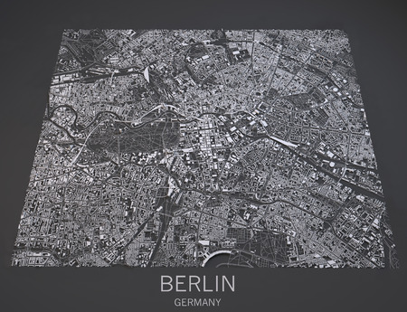negative area: Map of Berlin Germany view satellite maps in 3d