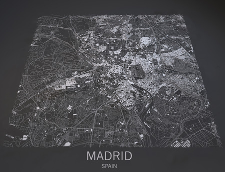 negative area: Map of Madrid Spain satellite map view in 3d