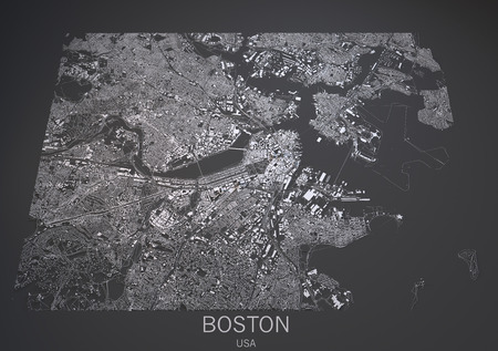 negative area: Boston US satellite map view in 3d Stock Photo