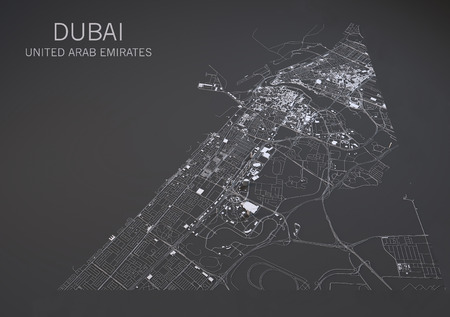 negative area: Dubai United Arab Emirates satellite map view in 3d