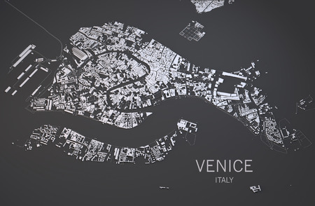 negative area: Venice satellite view map in 3d Italy