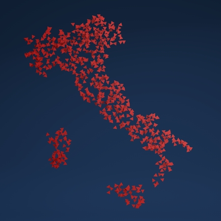 designates: 3d Italy map made of red triangles on dark background Stock Photo