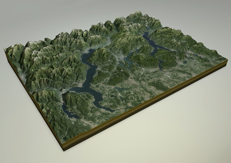 satellite view: Satellite View of Lake Maggiore Como and Lecco reliefs Italy. 3d view of the Alps