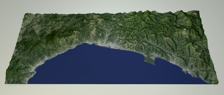 designates: Satellite View of the Liguria coast mountain ranges Genoa Italy. 3d view of the Ligurian Alps and the sea