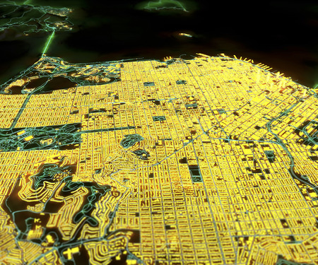 negative area: San Francisco USA satellite map view in 3d night lights Stock Photo