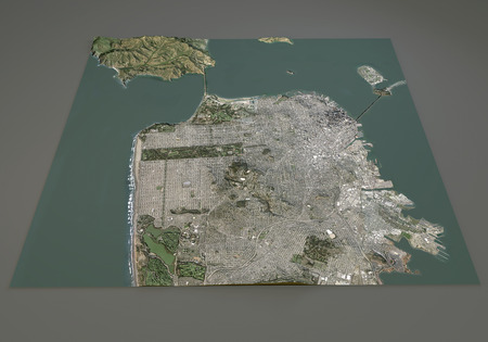 negative area: San Francisco USA satellite map view in 3d
